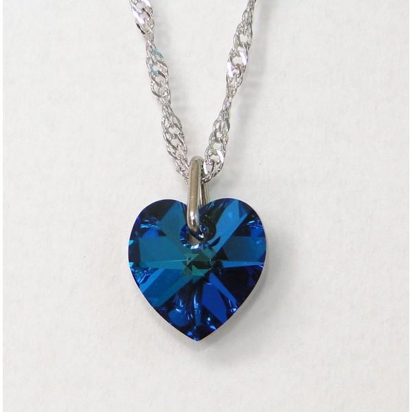 Gargantilha Coração 10 mm Bermuda Blue AB